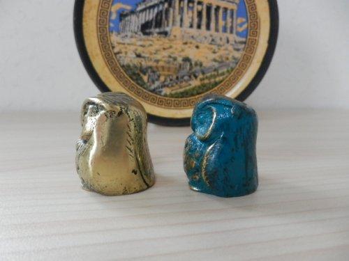 他の写真1: 【ギリシャ神話】(ギリシャ雑貨)愛らしいふくろうの置物(ゴールド・グリーン&ゴールド)【知恵の象徴ふくろう】