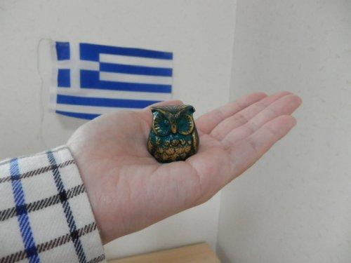 他の写真3: 【ギリシャ神話】(ギリシャ雑貨)愛らしいふくろうの置物(ゴールド・グリーン&ゴールド)【知恵の象徴ふくろう】