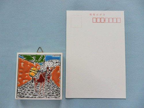 他の写真3: 【ラスト1点のためセール価格 おとく!】(ギリシャ雑貨)タイルの壁飾り(コースター・正方形)石畳とロバ(Bタイプ)【定価980円】