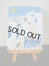 【SOLD OUT ありがとうございました!】【お客様の声あり♪】(ギリシャ雑貨)イーゼル付き立体画・白と青の風景【ハンドペイント♪】