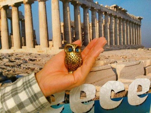 他の写真3: 【ギリシャ神話】(ギリシャ雑貨)凛々しいふくろうの置物(ゴールド)【知恵の象徴ふくろう】
