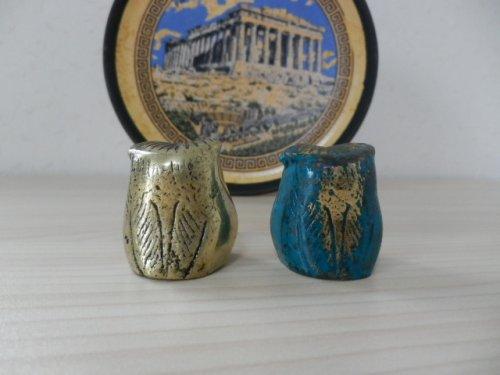 他の写真2: 【ギリシャ神話】(ギリシャ雑貨)愛らしいふくろうの置物(ゴールド・グリーン&ゴールド)【知恵の象徴ふくろう】